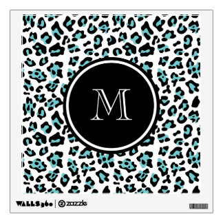Teal Black Leopard Animal Print with Monogram Wall Decal