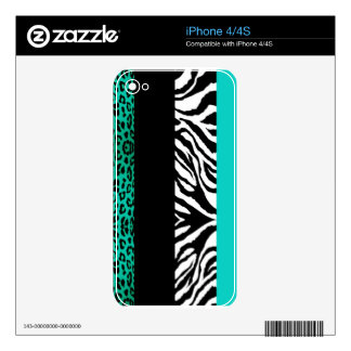 Teal Black Leopard & Zebra Custom Animal Print iPhone 4S Skins