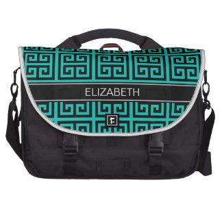 Teal Black Med Greek Key T #5 Blk Name Monogram Bag For Laptop