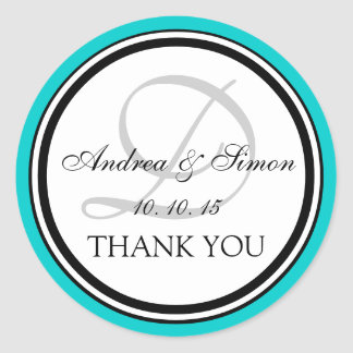 Teal Black Monogram D Wedding Thank You Classic Round Sticker