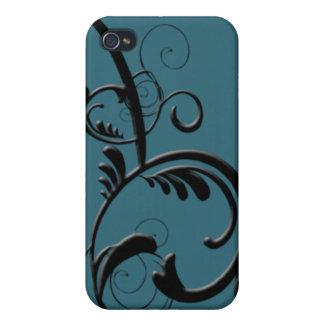 Teal & Black Monogram Filigree iPhone 4/4S Case