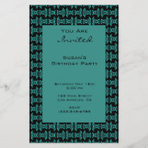 Teal Black Pattern Party
