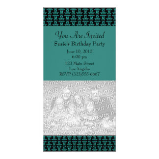 Teal Black Pattern Party Photo Card