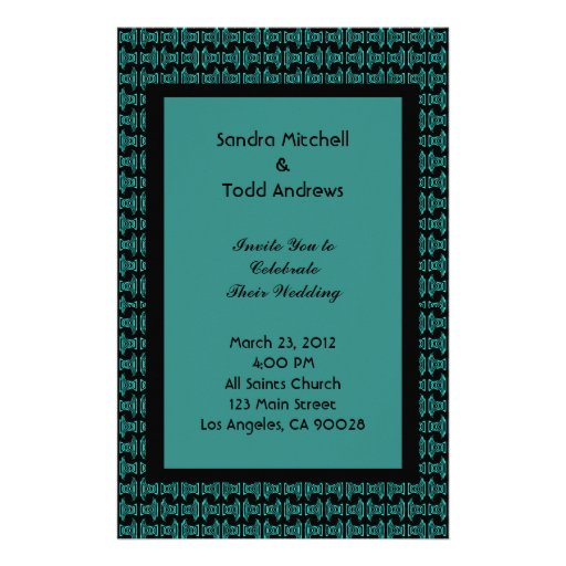 Teal Black Pattern Wedding Stationery