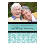 Teal Black Photo 50th Anniversary Party Invitation