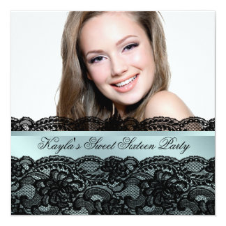 Teal Black Photo Sweet Sixteen Birthday Party 5.25x5.25 Square Paper Invitation Card