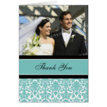 Teal Black Photo Wedding Thank You Card