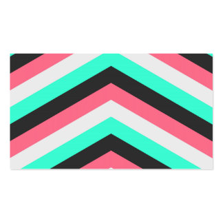 Teal Black Pink and Aqua Hipster Stripes Business Card Templates