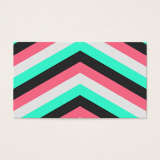 Teal Black Pink and Aqua Hipster Stripes Business Card