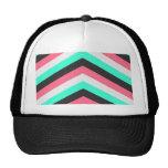 Teal Black Pink and Aqua Hipster Stripes Trucker Hat