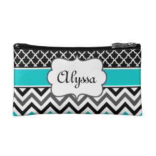 Teal Black Quatrefoil And Chevron Personalized Makeup Bag at Zazzle