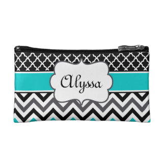 Teal Black Quatrefoil and Chevron Personalized Makeup Bag