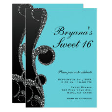 Teal & Black Silver Glitter Swirl Sweet 16 Party Card