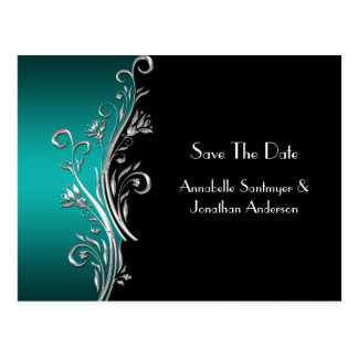 Teal Black Silver Swirls Save The Date Postcard