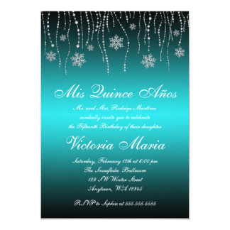 Teal Black Snowflakes Quinceanera Birthday Party Card