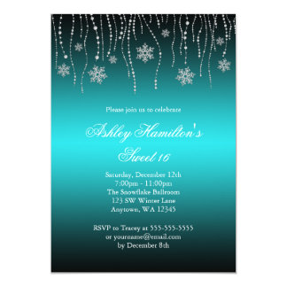 Teal Black Snowflakes Sweet 16 Winter Wonderland 5x7 Paper Invitation Card