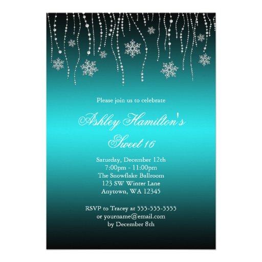 Teal Black Snowflakes Sweet 16 Winter Wonderland Custom Invitation