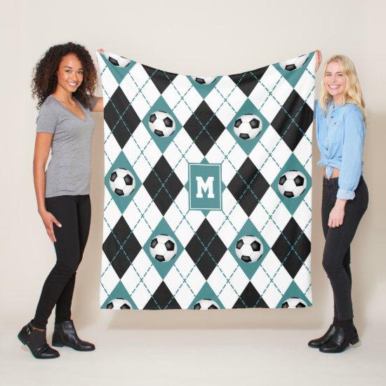 teal black soccer team colors argyle pattern fleece blanket