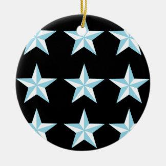 Teal & Black Stars Ceramic Ornament