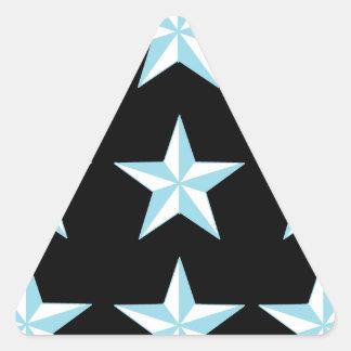 Teal & Black Stars Triangle Sticker