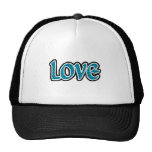 Teal & black stopped love hats