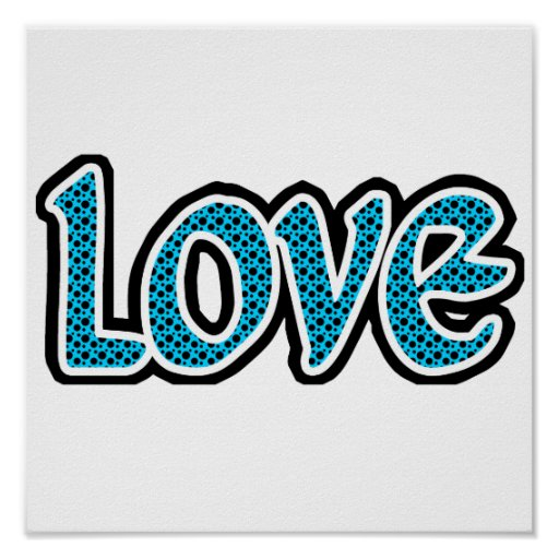 Teal & black stopped love poster