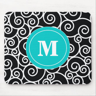 Teal Black Swirl Monogram Mouse Pad. Mouse Pad