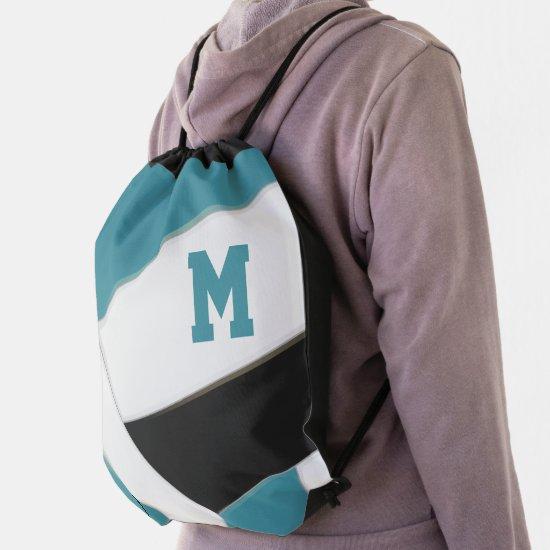 teal black team colors girls boys volleyball drawstring bag
