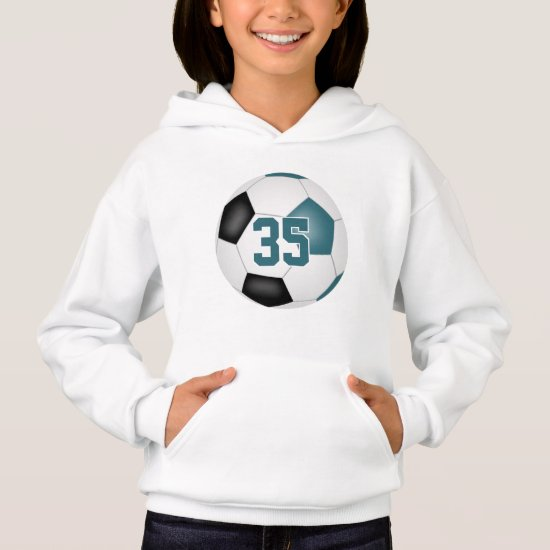 teal black team colors jersey number soccer hoodie