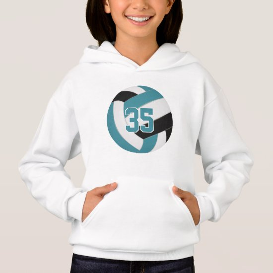 teal black team colors jersey number volleyball hoodie