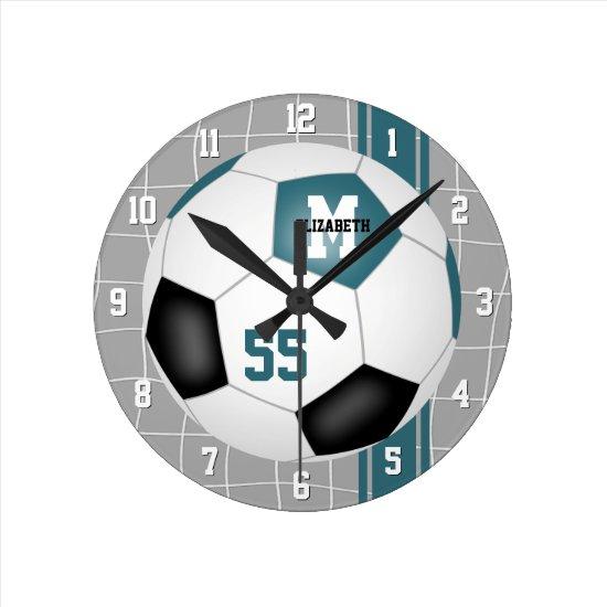 teal black team colors varsity stripes soccer round clock