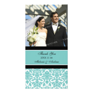 Teal Black Thank You Wedding Photo Cards