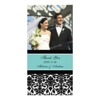 Teal Black Thank You Wedding Photo Cards