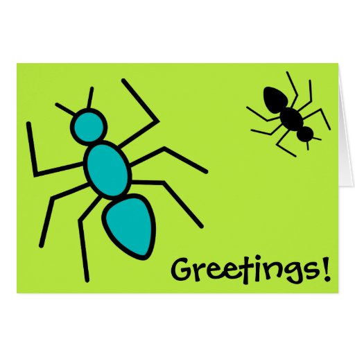 Teal & Black Vector Ants (Green Background) Greeting Card