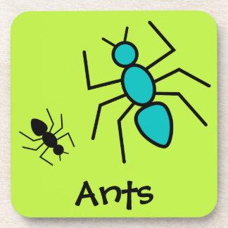 Teal & Black Vector Ants (Green Background) Drink Coaster