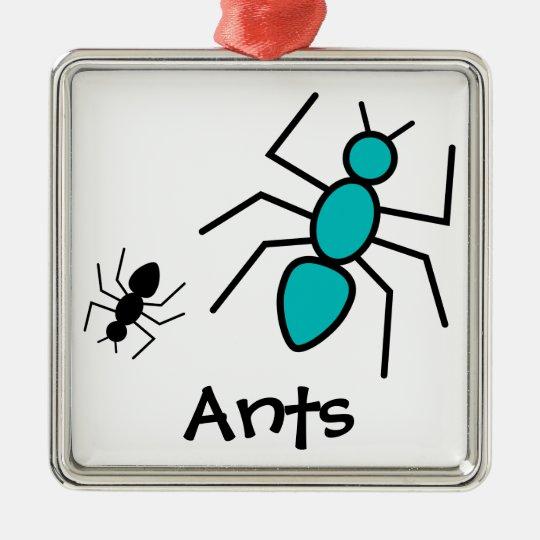 Teal & Black Vector Ants Metal Ornament