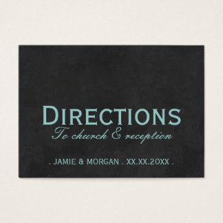 Teal Black Wedding Directions Card