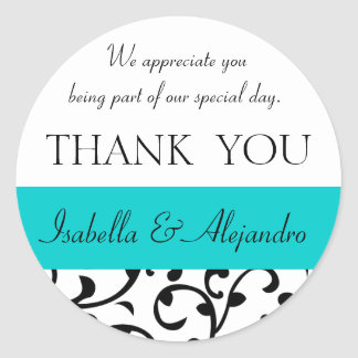 Teal, Black Wedding Favor Thank You Message Classic Round Sticker