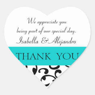 Teal, Black Wedding Favor Thank You Message Heart Sticker