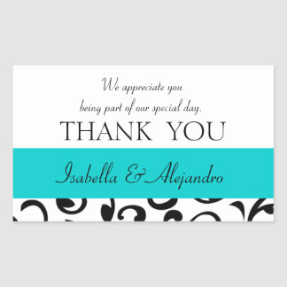 Teal, Black Wedding Favor Thank You Message Rectangular Sticker