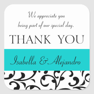 Teal, Black Wedding Favor Thank You Message Square Sticker