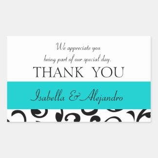 Teal, Black Wedding Favor Thank You Message Rectangular Sticker