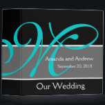 """Teal Black Wedding Planner Keepsake Binder<br><div class=""""desc"""">Teal Blue,  Black and White Wedding Planner Keepsake Binder personalized with your initial,  bride and groom names. Design by Elke Clarke&#169; Customize with your wedding information,  color scheme and fonts. This is a great way to stay organized or give away as gifts with wedding memories.</div>"""