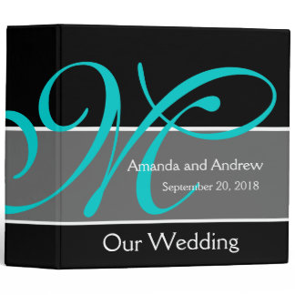 Teal Black Wedding Planner Keepsake Binder