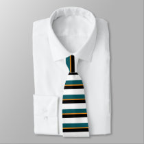 Teal Black White and Gold Horizontally-Striped Tie