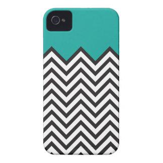 Teal, Black & White Chevron iPhone 4 Cover