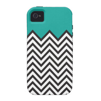 Teal, Black & White Chevron Vibe iPhone 4 Cases
