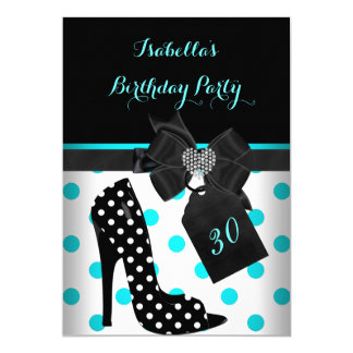 Teal Black White Heart Polka Dots Heels Birthday Card