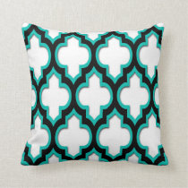 Teal Black White Moroccan Quatrefoil Pattern #4DS Throw Pillow
