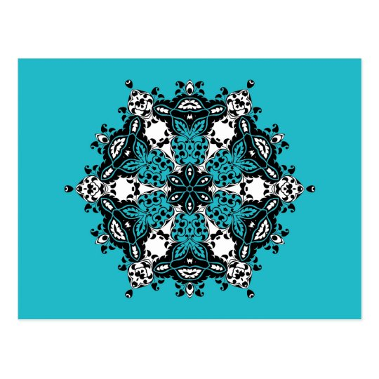 Teal Black & White Ornate Design Postcard